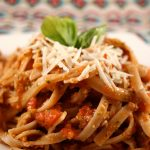 Fettucini with Tomato-Almond Pesto (Gluten-free)