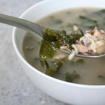 Chicken and Wild Rice Soup with Roast Garlic, White Beans and Kale