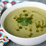 Chilled Avocado & Corn Soup with Cilantro Oil