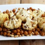 Spicy Roasted Cauliflower and Chickpeas with Pine Nuts