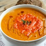 Butternut Squash and Roasted Red Pepper Soup (Vegan and Gluten-free)