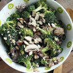 Creamy Vegan Broccoli Salad with Mushrooms and Almonds