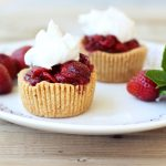 Roasted Balsamic Strawberry Mini-Tarts with Whipped Coconut Cream – Gluten-free + Vegan