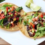 Grilled Portobello Mushroom Tacos with Mango Black Bean Salsa – Gluten-free + Vegan
