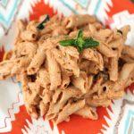 Pasta with Creamy Roasted Tomato Basil Sauce – Vegan + Gluten-free