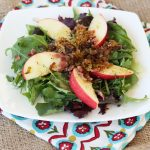 Mixed Greens Salad with Apples, Caramelized Leeks and Maple Dijon Dressing – Gluten-free + Dairy-free (vegan option)
