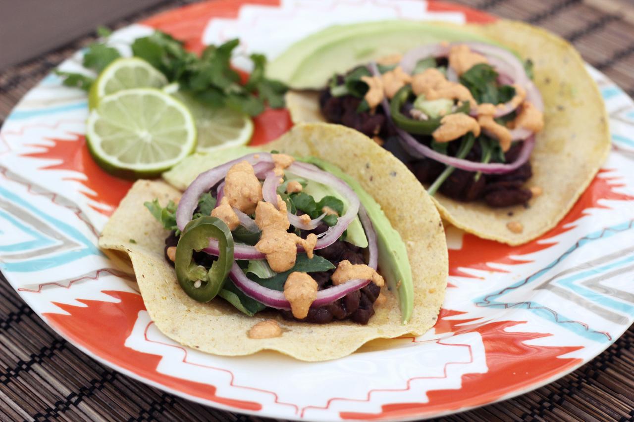 Slow-Cooked Black Bean Tacos w/ Vegan Chipotle Cream | Tasty Yummies