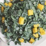 Creamy Kale Salad w/ Cracked Pepper Polenta Croutons – Gluten-free and Vegan