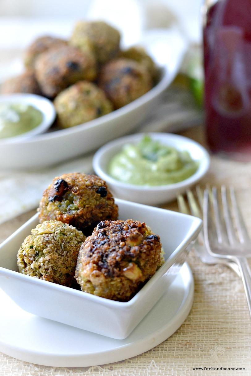 Southwestern Quinoa Bites Recipe with Avocado Dipping Sauce - Gluten-free and Vegan - Tasty Yummies