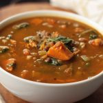 Spinach, Lentil and Sweet Potato Slow Cooker Soup {Gluten-free, Vegan}