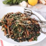 Lemon Garlicky Rainbow Chard with Lentils
