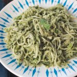 Pesto Turnip Noodles with Brussels Sprouts