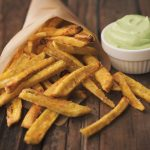 Baked Plantain Fries with Garlic Avocado Dipping Sauce