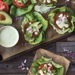 Lettuce Wrapped Grain-free Sweet Potato and Broccoli Veggie Burgers with Cilantro Sauce
