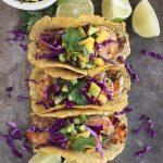 Grilled Cilantro Lime Shrimp Tacos with Avocado Mango Cucumber Salsa