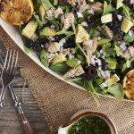 Tuna and Arugula Salad with Avocado, Black Olives & Lemon Parsley Vinaigrette
