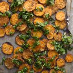 Roasted Sweet Potato Rounds with Garlic Infused Olive Oil and Fresh Herbs
