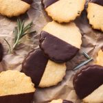 Dark Chocolate-Dipped Paleo Rosemary Shortbread Cookies