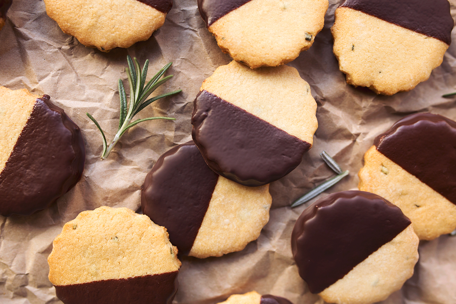 Dark Chocolate Dipped Paleo Rosemary Shortbread Cookies