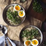 Savory Sprouted Grain Breakfast Porridge with Soft Cooked Egg {Gluten-free}
