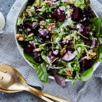 Spring Greens Salad with Roasted Beets, Walnuts and Creamy Feta Vinaigrette