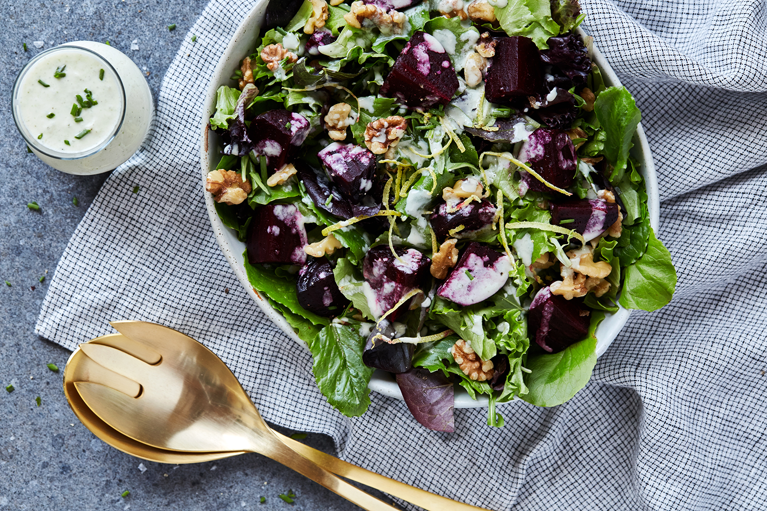 Spring Greens Salad with Roasted Beets, Walnuts and Creamy Feta ...