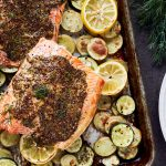 One Pan Mustard Roasted Salmon and Veggies