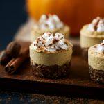 Grain-free Mini Pumpkin Cashew Cheesecakes {Vegan}