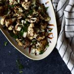 Charred Cauliflower with Balsamic Dark Chocolate Sauce and Almonds