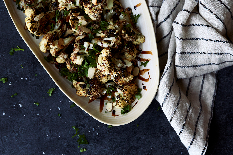 Charred Cauliflower with Balsamic Dark Chocolate Sauce and Almonds ...