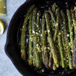 Cast Iron Charred Lemon Garlic Asparagus