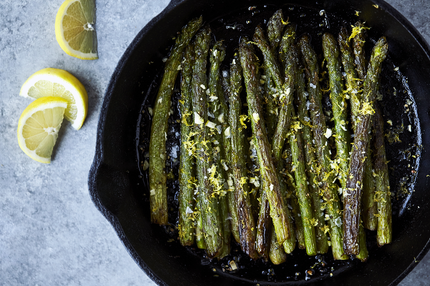 Cast Iron Charred Lemon Garlic Asparagus Paleo Dinner Recipes