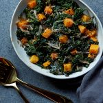 Wilted Kale Salad with Warm Mustard Shallot Vinaigrette and Spicy Butternut Squash Croutons