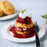 Keto Strawberry Shortcake with Balsamic Roasted Strawberries and Basil Whipped Coconut Cream {gluten-free, paleo}